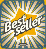 Bestseller retro tin sign design. Promotional banner for best selling product. Vintage  poster template Royalty Free Stock Photography
