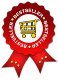 Bestseller ribbon award. Best seller ribbon sign isolated on white Royalty Free Stock Photo