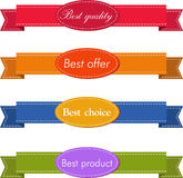 Bestseller. Set of Red Superior Quality and Satisfaction Guarantee Ribbons, Labels, Tags. Retro vintage style Royalty Free Stock Images