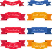 Bestseller. Set of Red Superior Quality and Satisfaction Guarantee Ribbons, Labels, Tags. Retro vintage style Stock Photography