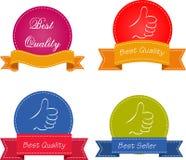 Bestseller. Sistema de las cintas rojas de la calidad superior y de la satisfacción garantizada, etiquetas, etiquetas. Estilo retr Imagen de archivo libre de regalías