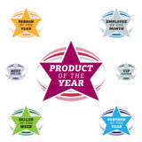 Bestseller star label. Most popular sign popularity label or sticker for best seller or market leader and top product or rating in the charts Stock Image