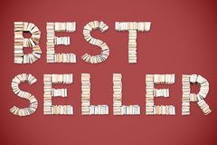 BESTSELLER word arranged from books. BESTSELLER word formed from books, shot from above on red background Royalty Free Stock Photos
