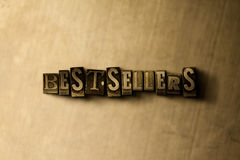 BESTSELLERS - close-up of grungy vintage typeset word on metal backdrop Stock Images