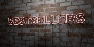 BESTSELLERS - Glowing Neon Sign on stonework wall - 3D rendered royalty free stock illustration Royalty Free Stock Photo