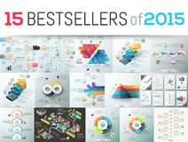 Bestsellers of 2015. Huge collection of 15 creative infographic business design templates, bestsellers of 2015, elements for graphs, diagrams, schemes. Vector vector illustration