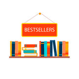 Bestsellers sign in bookstore Stock Image