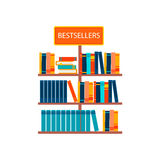 Bestsellers sign in bookstore. Vector illustration Royalty Free Stock Photo