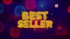 Bestselleru powitania teksta błyskotania cząsteczki na barwionych fajerwerkach