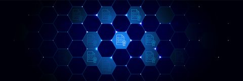 Bestuur, regelspictogram van Algemeen die gegevensproject in technologisch wordt geplaatst stock illustratie