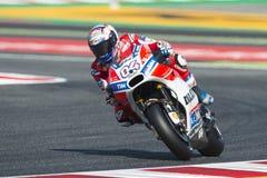 Bestuurder Andrea Dovizioso Ducatiteam De Grand Prix van de monsterenergie van Catalonië Stock Foto's