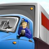 Bestuurder in cabine van vrachtwagen Stock Foto