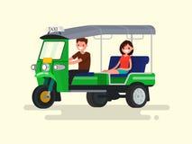 Bestuurder en passagiers three-wheeled tuk-tuktaxi Vectorillustra Royalty-vrije Stock Fotografie