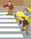 Bestuurder en voetganger royalty-vrije illustratie