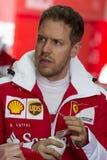 Bestuurder Sebastian Vettel Team Ferrari stock fotografie
