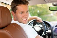 Bestuurder in zijn auto of bestelwagen Royalty-vrije Stock Fotografie