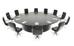 Bestuurskamer, vergaderzaal en conferentielijst en stoelen Bedrijfs concept isoleer het 3d teruggeven royalty-vrije illustratie