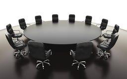 Bestuurskamer, vergaderzaal en conferentielijst en stoelen Bedrijfs concept isoleer het 3d teruggeven stock illustratie