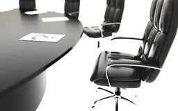 Bestuurskamer, vergaderzaal en conferentielijst en stoelen Bedrijfs concept isoleer het 3d teruggeven vector illustratie