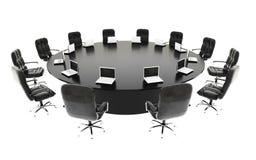 Bestuurskamer, vergaderzaal en conferentielijst met notitieboekjes Bedrijfs concept isoleer het 3d teruggeven stock illustratie