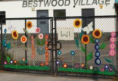 Bestwood  Womens InstituteGates  Yarn Bombing Royalty Free Stock Photos
