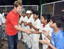 Besuch Jonty Rhodos in Bhopal, Indien lizenzfreies stockbild