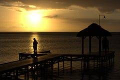 Besucher an der Sonnenuntergangleuchte Stockfotos