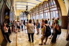 Besucher im Musik-Palast in Barcelona Lizenzfreies Stockfoto