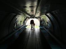 Besucher innerhalb eines Flugzeuges Stockbild