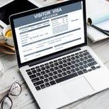 Besucher-Visumsantrag-Immigrations-Konzept stockbild