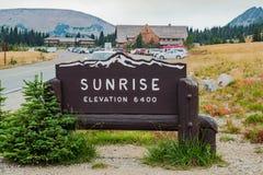 Besuchermitte Mt Rainier Sunrise Lizenzfreie Stockfotos