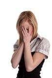 Besvärad tonåring - blond flicka Fotografering för Bildbyråer