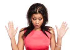 Besviken ledsen kvinnaflicka för blandat lopp Arkivfoton