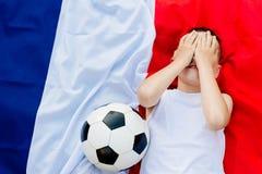 Besviket Frankrike medborgarefotbollslag arkivbild
