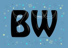 Best Wishes. Black Letters with Pearl Collars Royalty Free Stock Images
