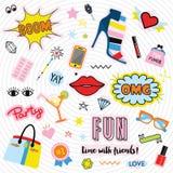 Besynnerliga färgrika kvinnliga etiketter och klistermärkesymboler ställde in Fotografering för Bildbyråer