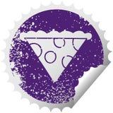 besynnerligt bekymrat cirkul?r som skalar klisterm?rkesymbolskivan av pizza vektor illustrationer