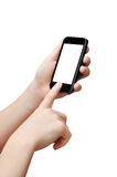 Betätigen der Taste auf smartphone Stockfoto