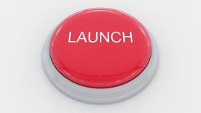 Betätigen des großen roten Knopfes mit Produkteinführungsaufschrift Begriffs-Klipp 4K stock abbildung