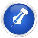 Betätigen Sie erstklassigen blauen runden Knopf der Stiftikone Stockfotografie