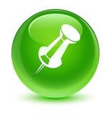 Betätigen Sie glasigen grünen runden Knopf der Stiftikone Stockfoto