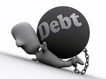 Betätigen Sie sich durch Debt Stockfoto