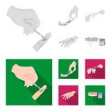 Betäubende Einspritzung, zahnmedizinisches Instrument, Handmanipulation, Zahnreinigung und andere Netzikone in der einfarbigen, f stock abbildung