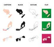 Betäubende Einspritzung, zahnmedizinisches Instrument, Handmanipulation, Zahnreinigung und andere Netzikone in der Karikatur, Sch stock abbildung
