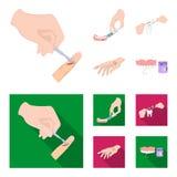 Betäubende Einspritzung, zahnmedizinisches Instrument, Handmanipulation, Zahnreinigung und andere Netzikone in der Karikatur, fla stock abbildung