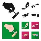 Betäubende Einspritzung, zahnmedizinisches Instrument, Handmanipulation, Zahnreinigung und andere Netzikone in der schwarzen, fla lizenzfreie abbildung