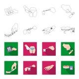 Betäubende Einspritzung, zahnmedizinisches Instrument, Handmanipulation, Zahnreinigung und andere Netzikone im Entwurf, flache Ar vektor abbildung