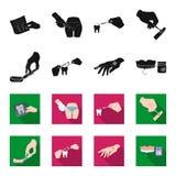 Betäubende Einspritzung, zahnmedizinisches Instrument, Handmanipulation, Zahnreinigung und andere Netzikone im Schwarzen, flet Ar lizenzfreie abbildung