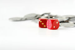 Bet. A closeup of some dices and money stock photography
