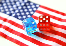 bet on america. flag and dices concept royalty free stock photos
